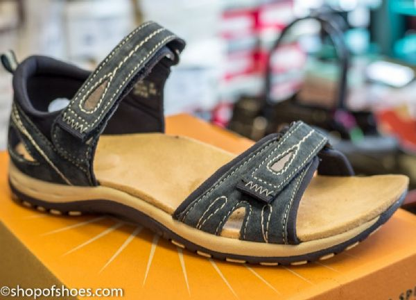 Earth spirit navy  suede leather summer walking sandal with closed back support.